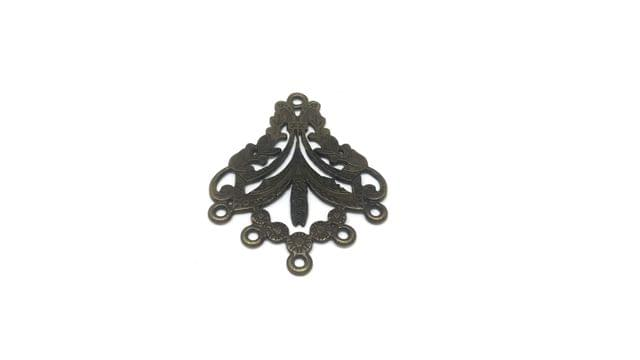 Jewellery Making Metal Alloy Dangler Earring Connector 36x29x1mm Rhombus Antique Bronze Color (Pack of 12 pieces)