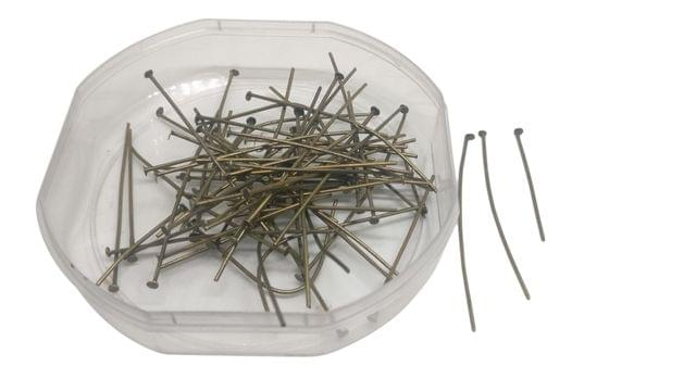 Jewellery Making Metal Iron Head Pins (700+ Pieces) Mixed Size Range: 1.5 CM to 5 CM Thickness:0.7MM Pin Antique Bronze Color  (100 grams)