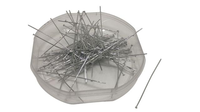 Jewellery Making Head Pins Tarnish Resistant (125 Pins) 50x0.7mm Pin Stainless Steel Silver Color (20 grams)