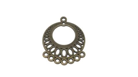 Jewellery Making Metal Alloy Dangler Earring Connector 37x29mm Round Antique Bronze Color (Pack of 12 Pieces)
