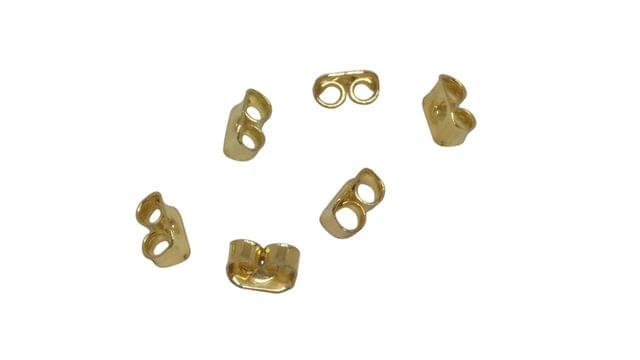 Jewellery Making Metal Iron Earring Back Stoppers (340 Pieces) 5x3mm Rectangle Gold Color (20 grams)