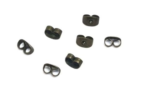 Jewellery Making Metal Iron Earring Back Stoppers (230 Pieces) 6x4mm Rectangle Antique Bronze Color (20 grams)