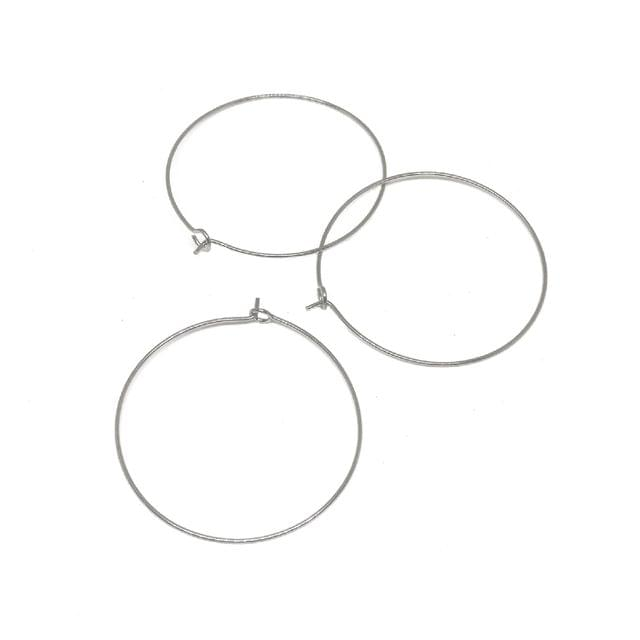 Brass Hoops (50 Pieces, 30mm Dia,Thickness 0.5mm) for Jewellery Making Earrings Round Silver Color