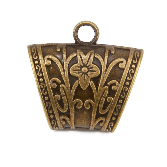Vintage Jewellery Scarf Bails Pendant Metal Alloy for Shawl Stoles (Pack of 3) 39x37x18mm Curved Antique Bronze Color