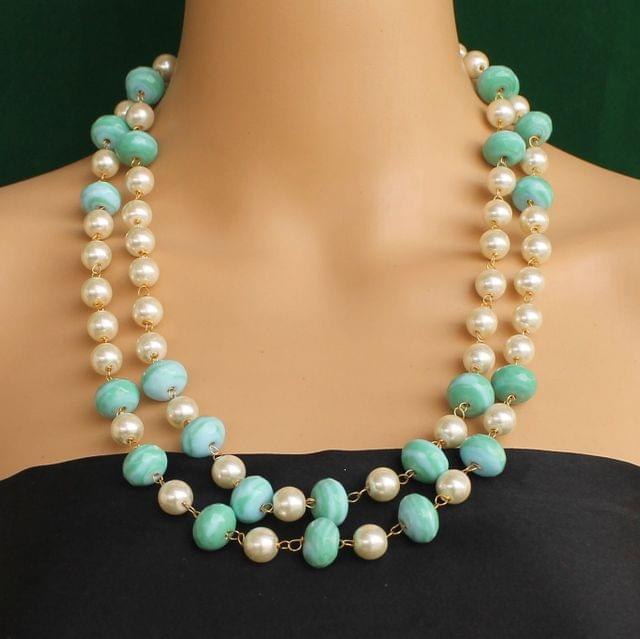 Pearl Dual Tone Faceted Turquoise Necklace