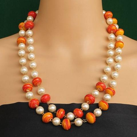 Pearl Dual Tone Faceted Orange Necklace