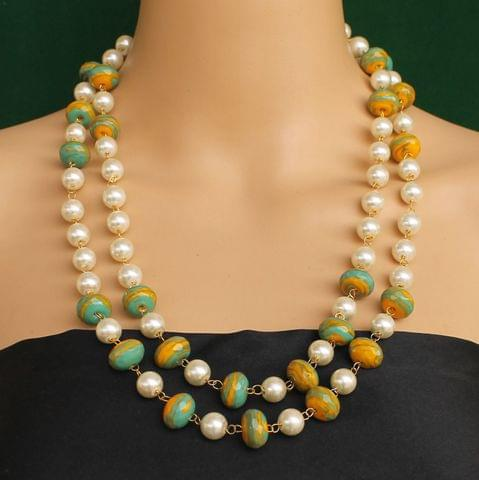 Pearl Dual Tone Faceted Green Necklace