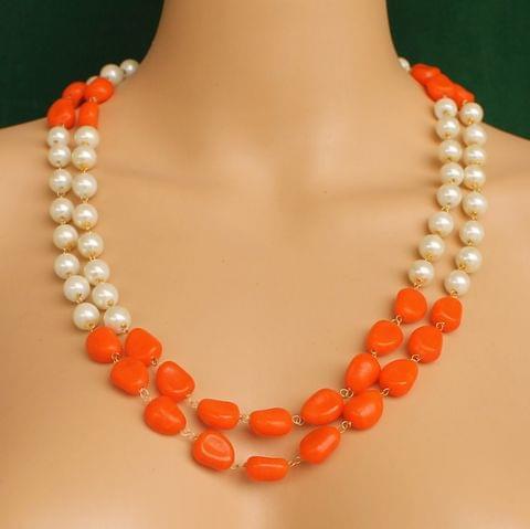 Dual Strands Pearl Neckalce Orange