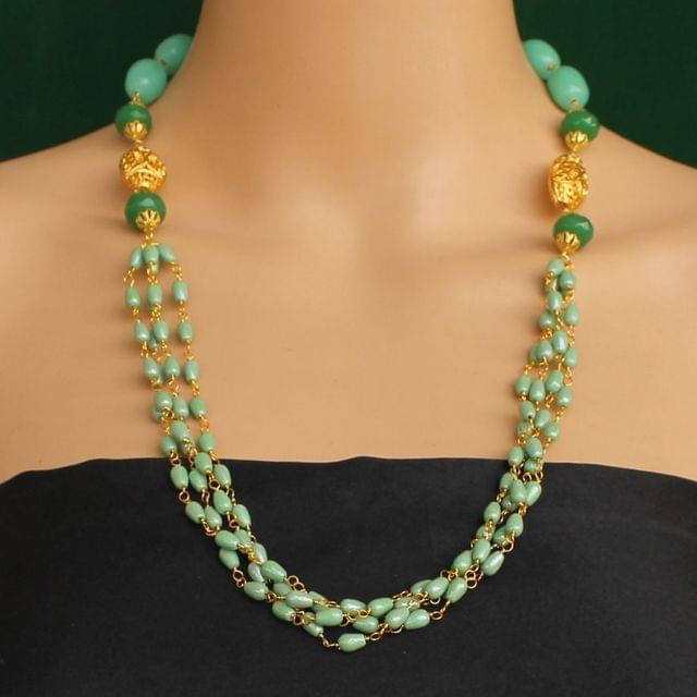 Multi Strands Beaded Necklace Green