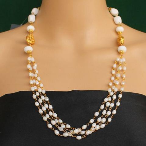 Multi Strands Beaded Necklace White