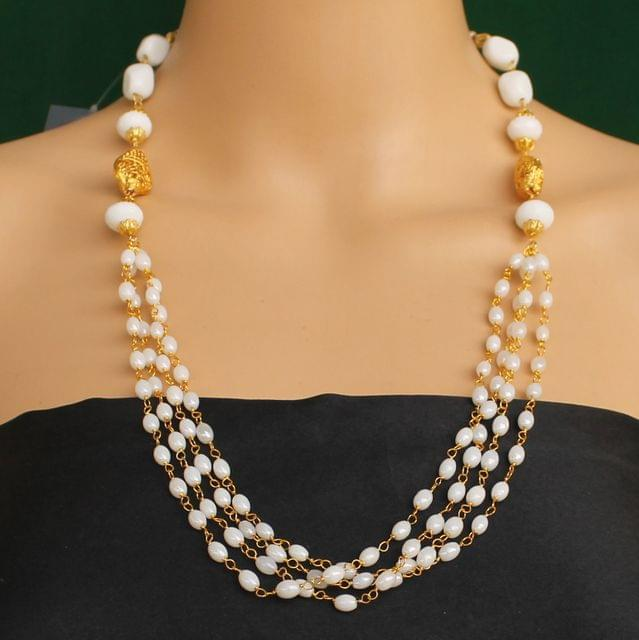 Multi Strands Beaded Necklace White