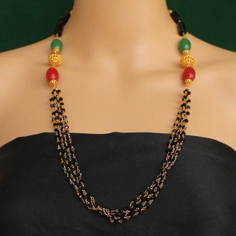 Multi Strands Beaded Necklace Black