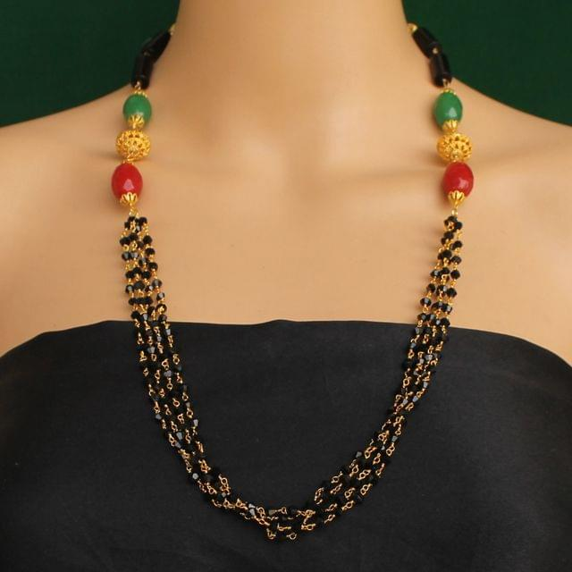 Multi Strands Beaded Necklace Black