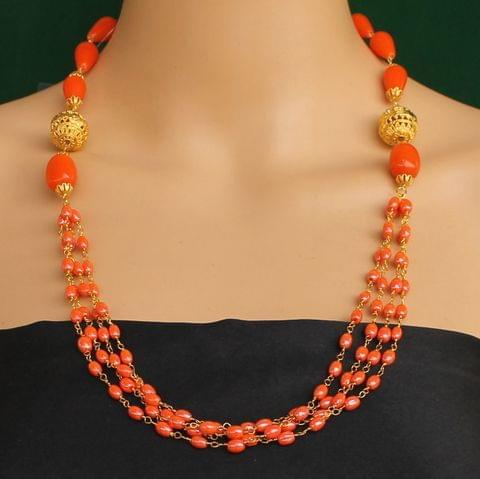 Multi Strands Beaded Necklace Orange