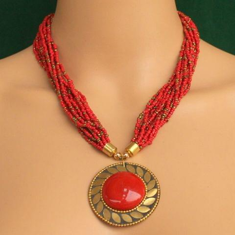 Seed Beads Necklace Red With Tibetan Pendant