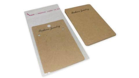 Big Paper Display Earring Cards 10x6.5cm with Covers Rectangle Brown (Pack of 50 Pieces)