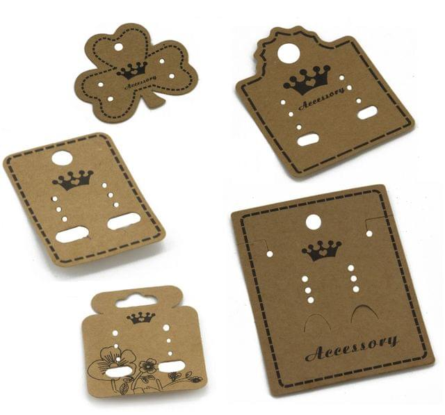 Paper Designer Jewellery Earring Display Cards Mixed Size 3.2 cm to 7.5 cm Long Range Mixed Shapes Brown (Pack of 50 Pieces)