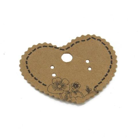 Paper Designer Jewellery Earring Display Cards 5x4.5cm Heart Brown (Pack of 50 Pieces)