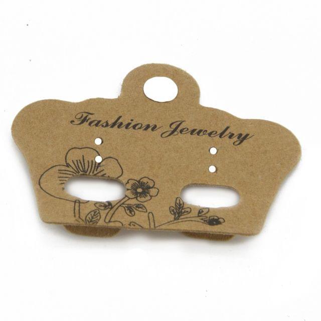 Paper Designer Jewellery Earring Display Cards 5x4cm Crown Brown (Pack of 50 Pieces)