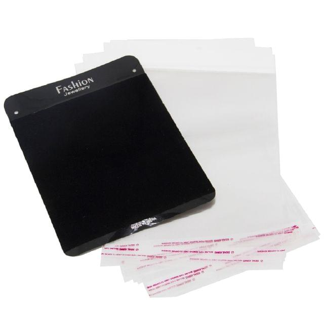 Velvet Display Cards 20x15cm for Jewellery Chain Display with Covers Black (Pack of 10 Pieces)