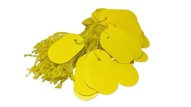 Paper Price Tags 3.6x2.2cm Oval Yellow (Pack of 190 Tags)