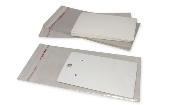 Paper Earring Display Cards 9x5cm with Covers Rectangle White (Pack of 100 Pieces)