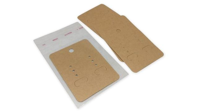 Paper Display Earring Cards with Covers 6.7x5cm Covers Rectangle Brown (Pack of 100 Pieces)