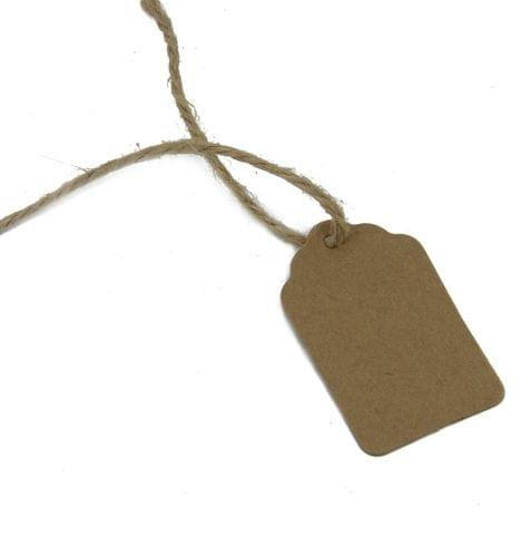 Paper Price Display Tags for Gifts Jewellery Bags Crafts Multi-Purpose with Hemp Cord 5x3cm Rectangle Brown (Pack of 100 Pieces)