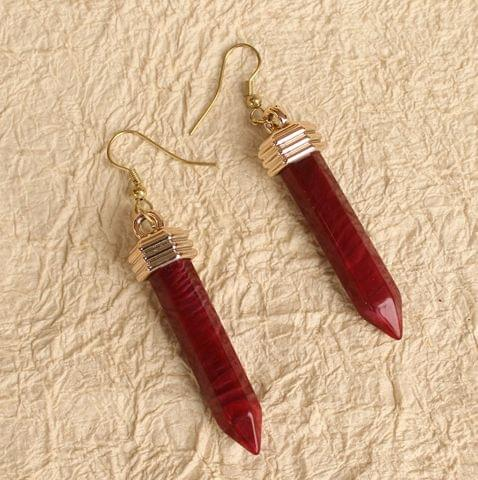 Light Weight Dangler Earrings Maroon