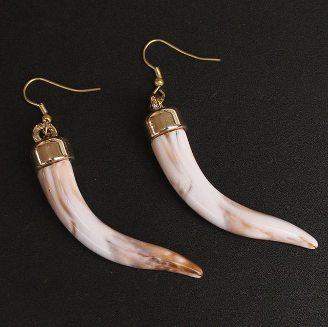Light Weight Dangler Earrings Off White