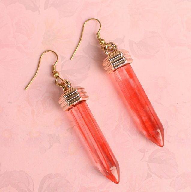 Light Weight Dangler Earrings Orange