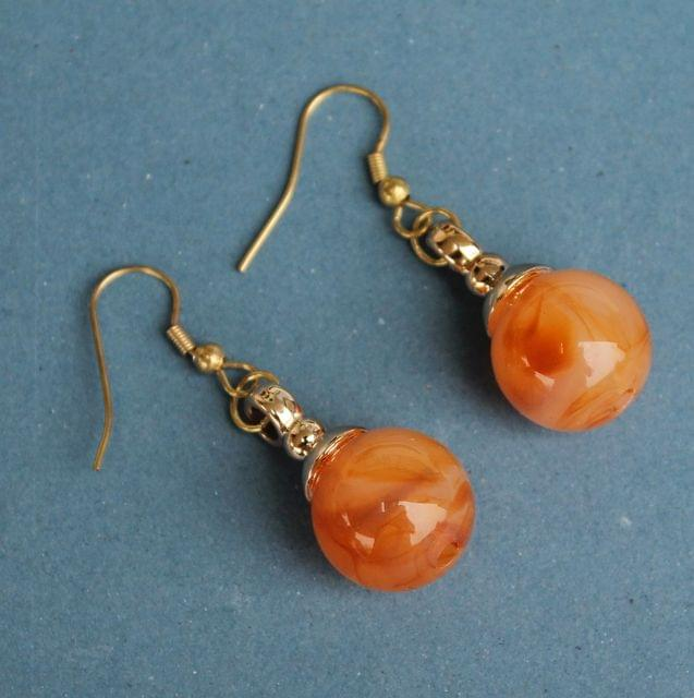 Light Weight Dangler Earrings Orange