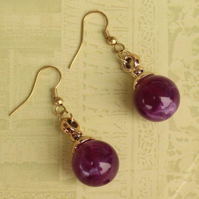 Light Weight Dangler Earrings Purple