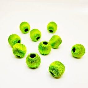 Silk Thread Wrapped Beads Size 10 mm Parrot Green 20 beads Jewellery Making