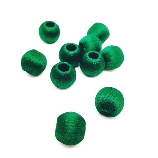 Silk Thread Wrapped Beads Size 10 mm Dark Green dBell 64 20 beads Jewellery Making