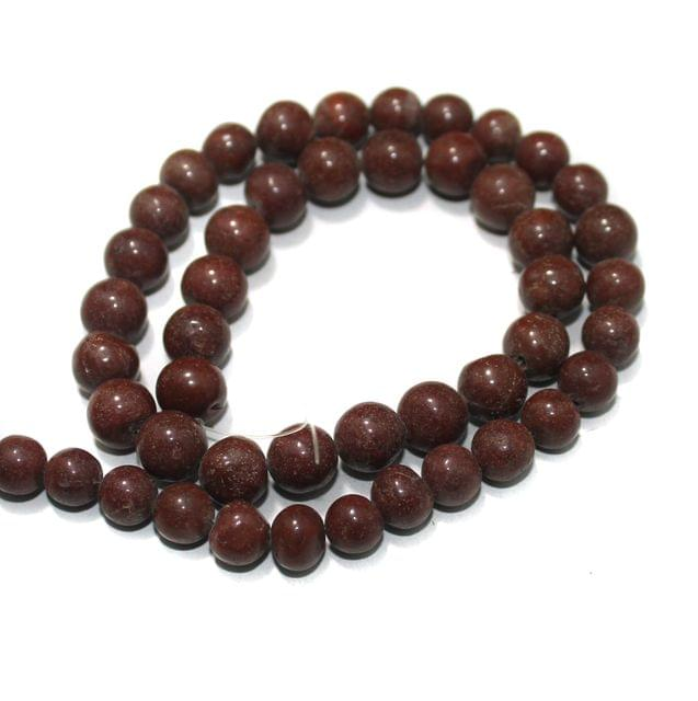 Brown Jasper Gemstone Beads, Size 07-09 mm, Pack Of 1 String