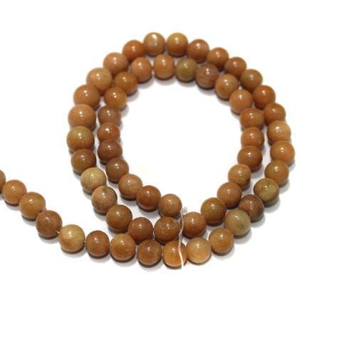 Peach Dark Gemstone Beads, Size 07-09 mm, Pack Of 1 String