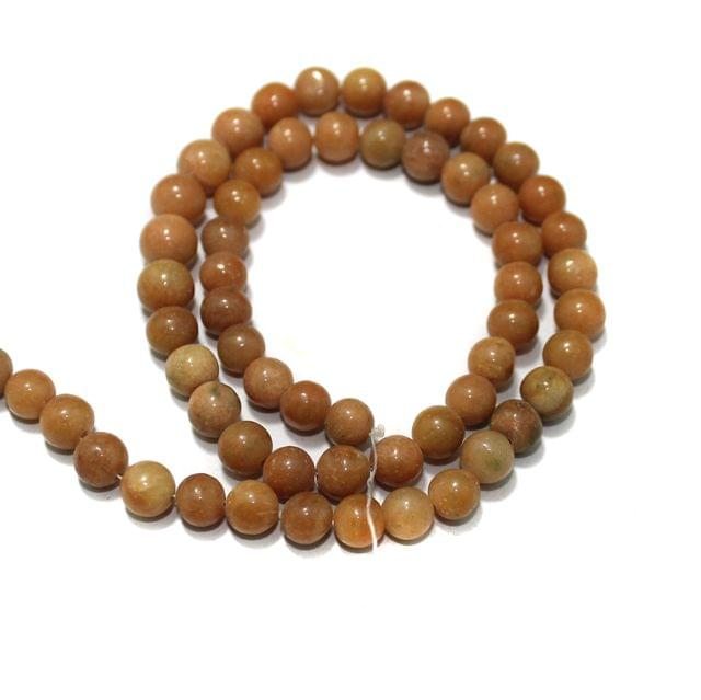 Peach Dark Gemstone Beads, Size 07-09 mm, Pack Of 1 String
