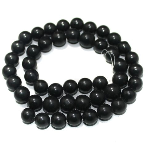 Black Gemstone Beads, Size 07-09 mm, Pack Of 1 String