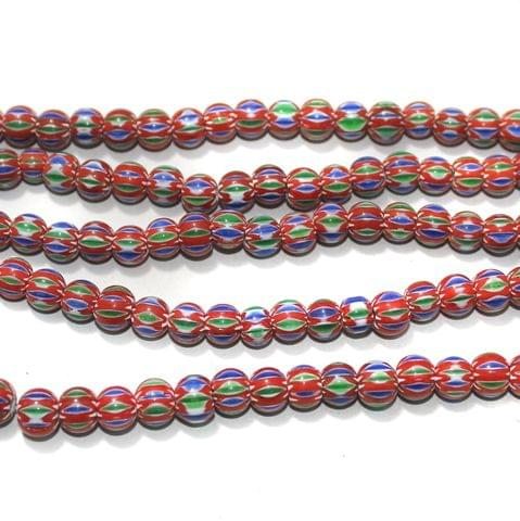 Chevron Designer Round Beads Size 8 mm, Pack Of 1 String