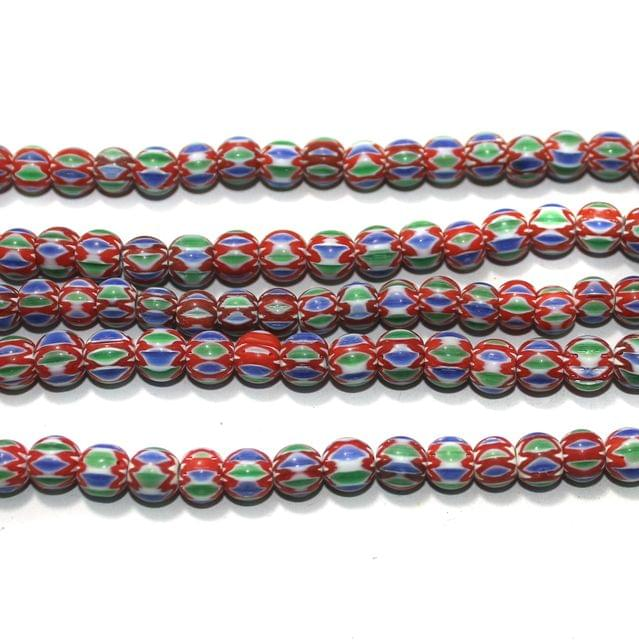 Chevron Designer Round Beads Size 8 mm, Pack Of 1 String