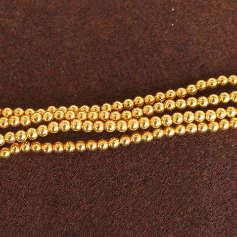 Brass Mani Gold plated Beads, Size 3 mm, Pack of 1 string, Approx 200 Pcs