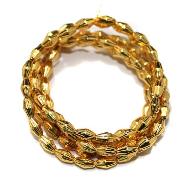 Gold Plated Laser Cut Copper Oval Spacer Beads, Size 8x5 mm, Pack of 1 string, Approx 100 Pcs