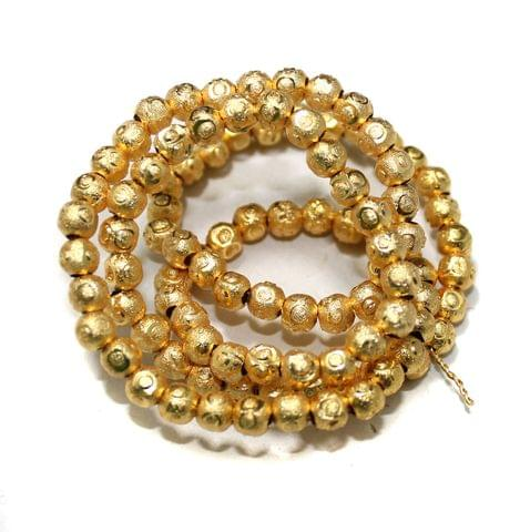 Gold Plated Laser Cut Copper Round Spacer Beads, Size 5 mm, Pack of 1 string, Approx 100 Pcs