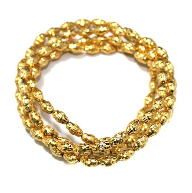Gold Plated Laser Cut Copper Oval Spacer Beads, Size 9x6 mm, Pack of 1 string, Approx 100 Pcs