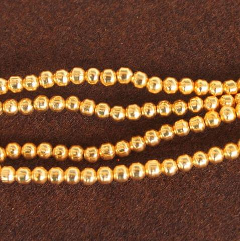 Brass Mani Gold plated Beads, Size 4 mm, Pack of 1 string, Approx 100 Pcs