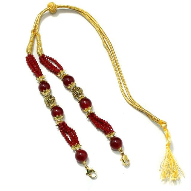 Designer Crystal Beaded Necklace Dori Red, Pack Of 1 Pc