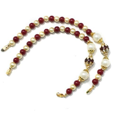 Designer Meenakari Beaded Necklace Dori Red, Pack Of 1 Pc