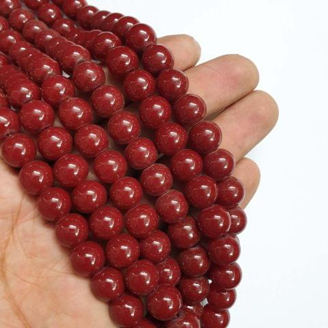 Red Round Shape Glass Pearl Beads, 80+ beads in each strand, 32-34 Inches, 4 Lines, 10mm