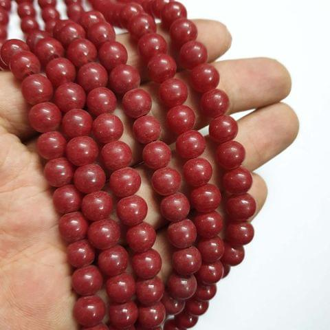 Red Round Matte Finish Shape Glass Pearl Beads, 100+ beads in each strand, 32-34 Inches, 4 Lines, 8mm